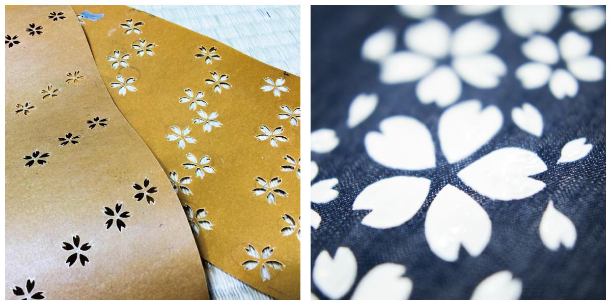 左:ナイトブロッサムシリーズのオリジナル型紙、右:抜染のりで藍色を抜く作業