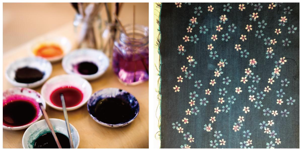左:色挿しの染料、右:染色後のデニム生地
