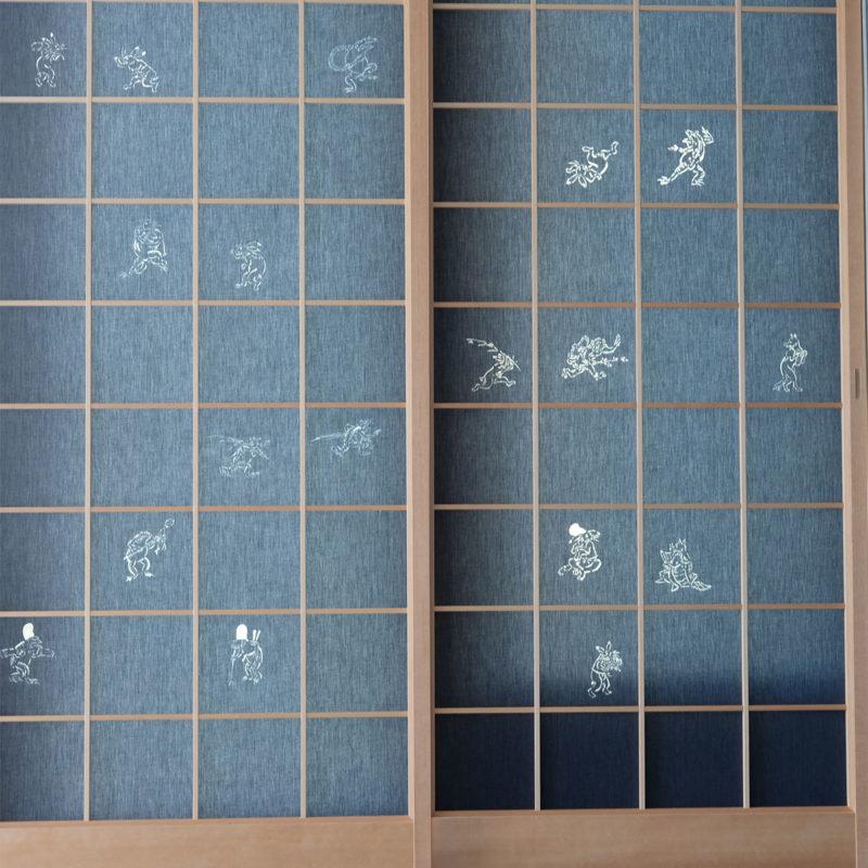 京都デニムの超獣人物戯画デニム障子