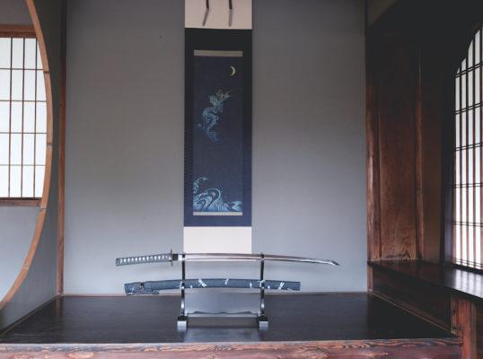 デニム暖簾と刀