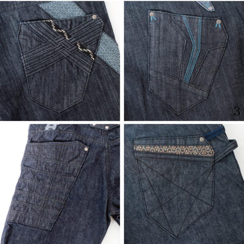 京都デニムメンズジーンズのバックポケットのアップ