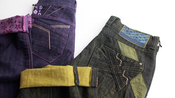 浸染されたジーンズ