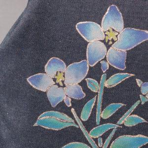 ミニドクターショルダーバッグ|伝統工芸京友禅染め 桔梗文様金彩くくり(1点もの)