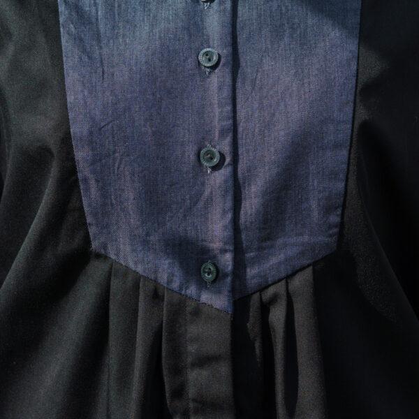 ショートカラータックデニムシャツ
