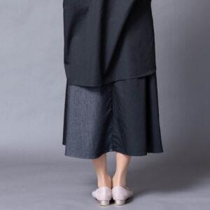デニム切替ロングスカート