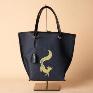舟型ミニトートバッグ|狐文様金彩くくり(1点もの)