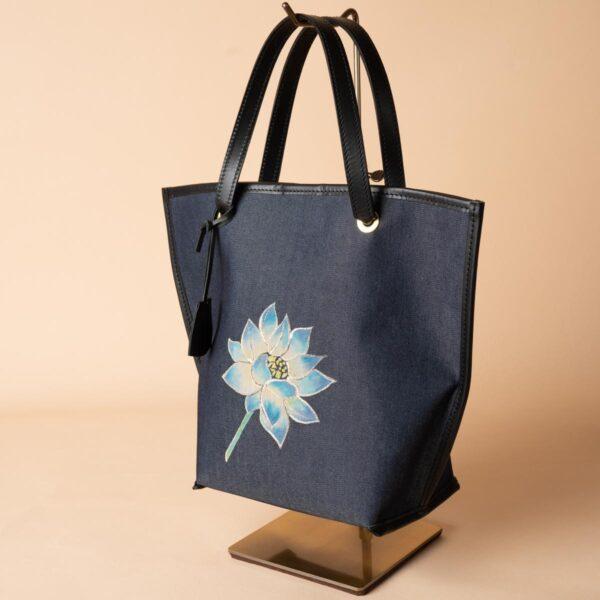 舟型ミニトートバッグ|蓮文様金彩くくり(1点もの)
