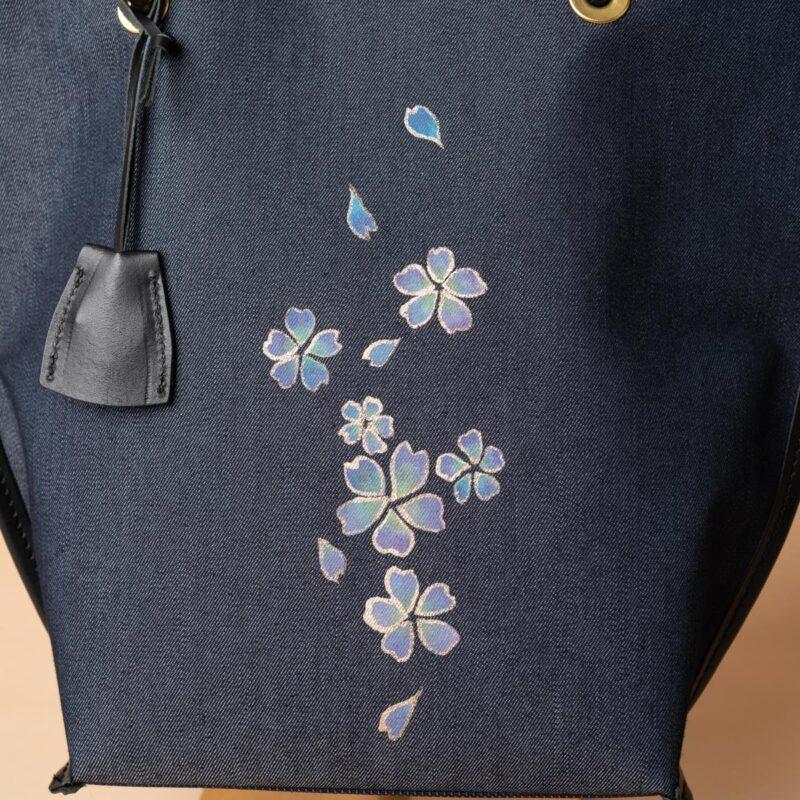 舟型ミニトートバッグ| 黄紫文様金彩くくり(1点もの)