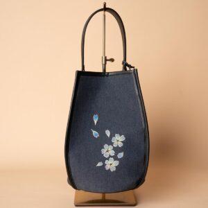 花形ショルダーバッグ|伝統工芸京友禅染め 桜吹雪文様金彩くくり【二】(1点もの)
