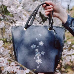 舟型ミニトートバッグ| 伝統工芸京友禅染め 黄紫文様金彩くくり(1点もの)