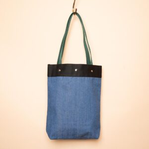 Denim tote bag | Navy blue & blue double-sided switching