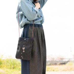 2way桜デニムサコッシュ |伝統工芸京友禅染め【十四】(1点もの)