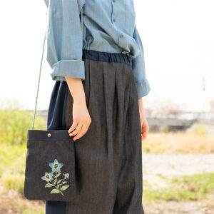 Sacoche en denim 2 voies | Artisanat traditionnel Teinture Yuzen de Kyoto [XNUMX] (XNUMX objet)