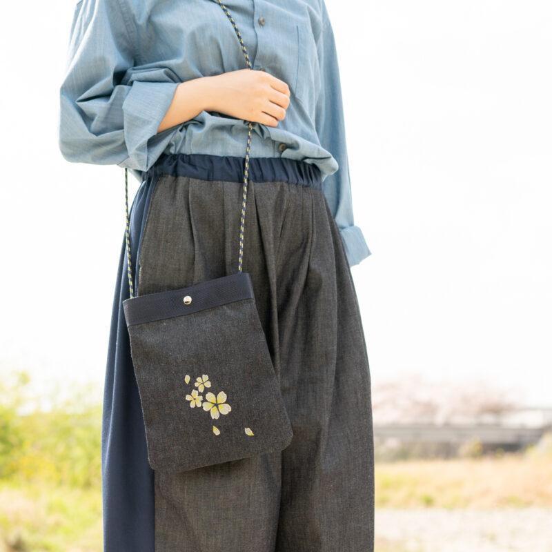 2wayデニムサコッシュ |伝統工芸京友禅染め【十八】(1点もの)