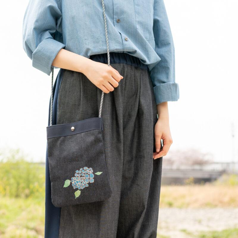 2wayデニムサコッシュ |伝統工芸京友禅染め【十五】(1点もの)