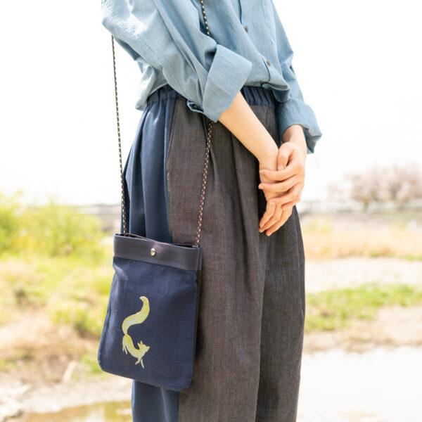 2wayデニムサコッシュ |伝統工芸京友禅染め【十七】(1点もの)
