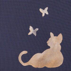 真四角トートバッグ| 金彩友禅 猫と蝶(1点もの)