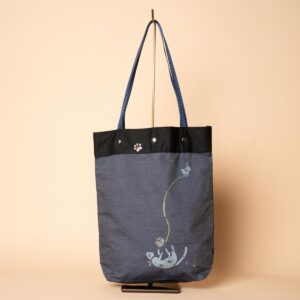 デニムトートバッグ|親子猫(一点もの)