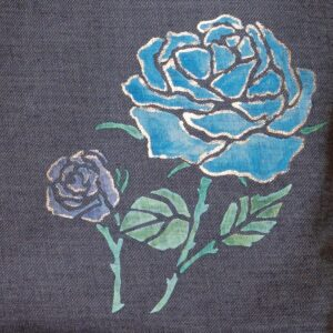 Denim tote bag | Two-wheeled roses (one-of-a-kind)