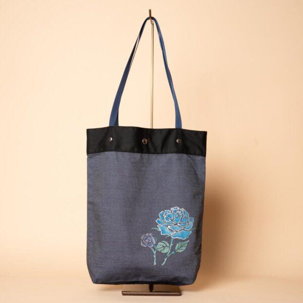 デニムトートバッグ|二輪のバラ(一点もの)