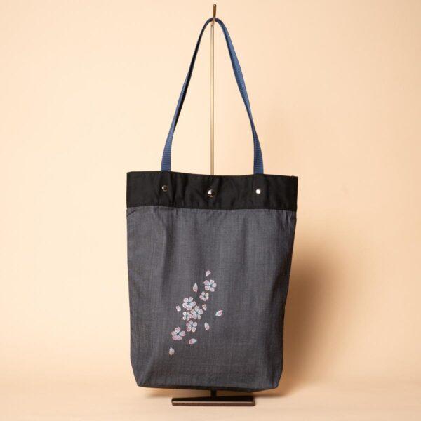 デニムトートバッグ|流れ桜(一点もの)