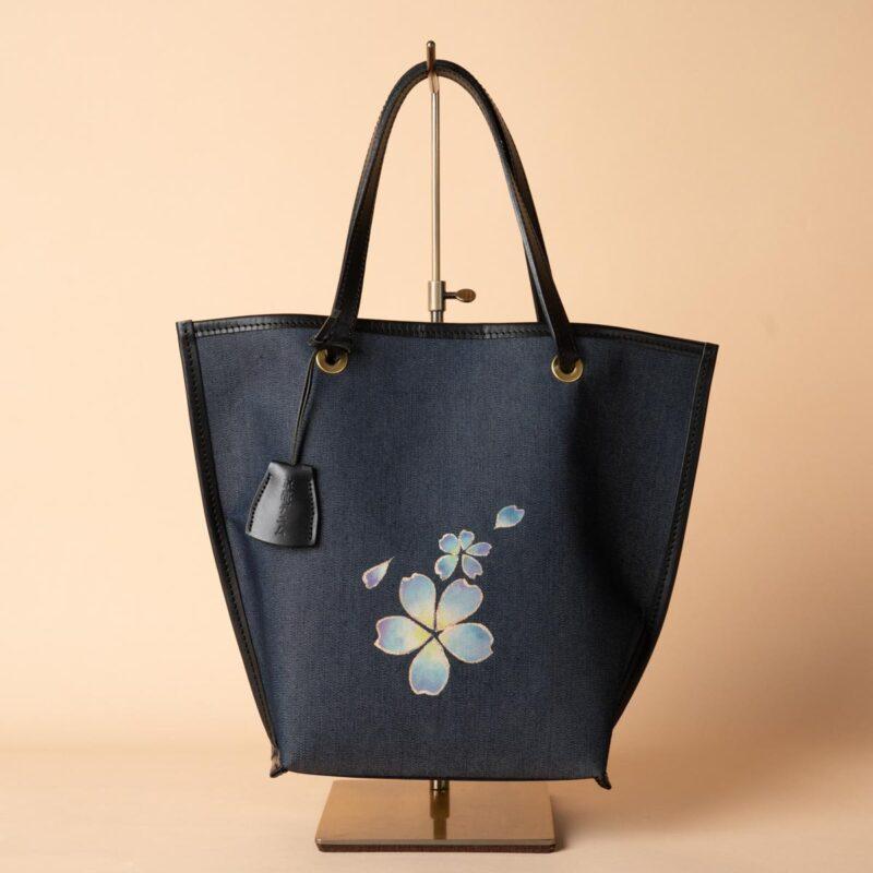 舟型ミニトートバッグ| 青舞大桜文様金彩くくり(1点もの)