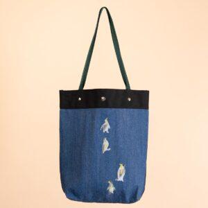 デニムトートバッグ|紺&青 両面切替|ペンギン文様