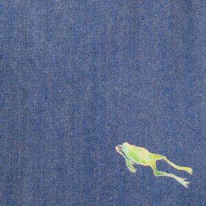 デニムトートバッグ|紺&青 両面切替|飛び込む蛙文様(1点もの)