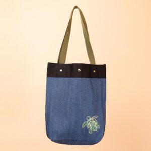 デニムトートバッグ|紺&青 両面切替|亀文様(1点もの)