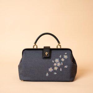 ミニドクターショルダーバッグ|青桜吹雪文様金彩くくり(1点もの)