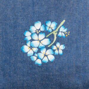 デニムトートバッグ|紺&青 両面切替|青桜文様