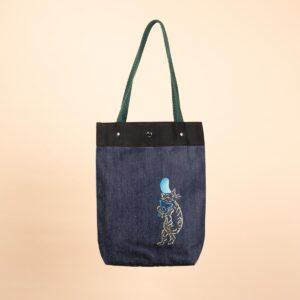 デニムトートバッグ|紺&青 両面切替|