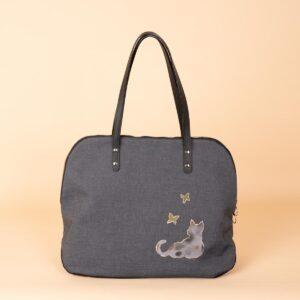 ラウンドトートバッグ |京友禅染め 猫と蝶文様 金彩くくり