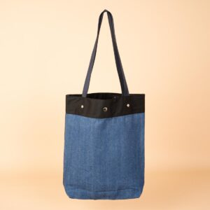 デニムトートバッグ|紺&青 両面切替