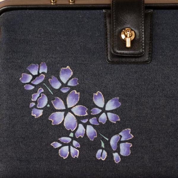 【オーダー品】ミニドクターショルダーバッグ|紫枝桜文様金彩くくり